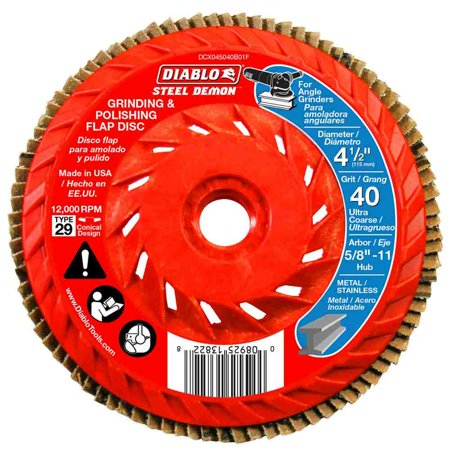 4-1/2 in. 40-Grit Steel Demon Grinding and Polishing Flap Disc with Integrated Speed (Diablo Steel Demon Grinding And Polishing Flap Disc)
