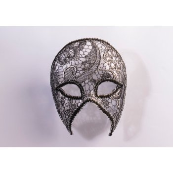 MASK-LACEY SILVER-HALF - Best Mardi Gras Costumes