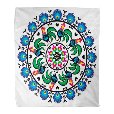 KDAGR Flannel Throw Blanket Colorful Floral Polish Traditional Folk Pattern in Circle Roosters Soft for Bed Sofa and Couch 58x80 (Polished Rooster)