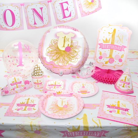 Pink & Gold First Birthday Party Supplies   Walmart.com