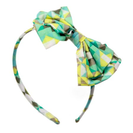 Girls' Green Geometric Art Deco Headband with Bow RH0326 - Head Band Light