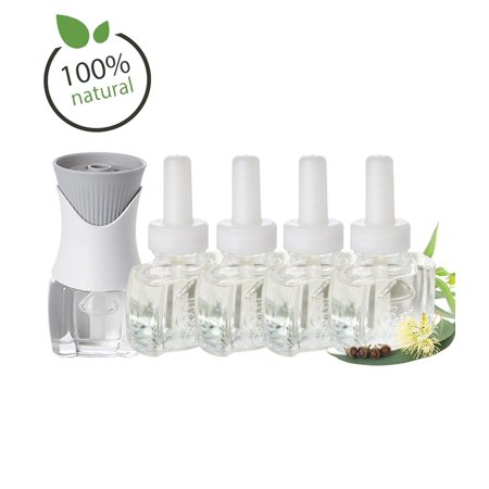 100% Natural Eucalyptus Refill Kit with (4 )refills (1) Air Wick Plug In Scented Oil Warmer ()