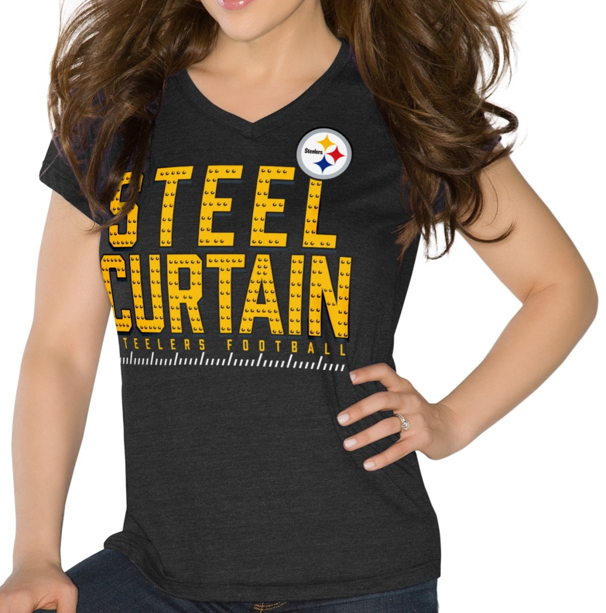 "Pittsburgh Steelers Women's G-III NFL ""Team Slogan"" Tri-blend V-neck T-shirt"