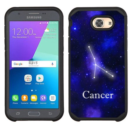 Hybrid Case for Samsung Galaxy J3 Luna Pro 4G LTE / J3 Eclipse, OneToughShield ® Dual Layer Shock Absorbing Phone Case (Black) - Zodiac / -