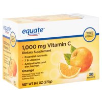 Equate Vitamin C Orange Flavored Fizzy Drink Mix, 1,000 mg, 30 count, 9.6 oz