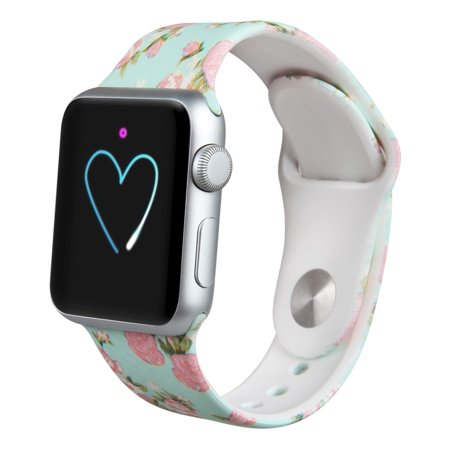 Soft Printed Fashion Silicone Sport Replacement Bands for Apple Watch Series 1, Series 2, Series 3 42MM ()