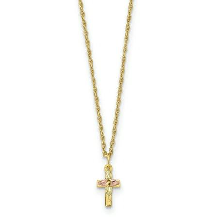 10k Tri-Color Black Hills Gold Cross Necklace