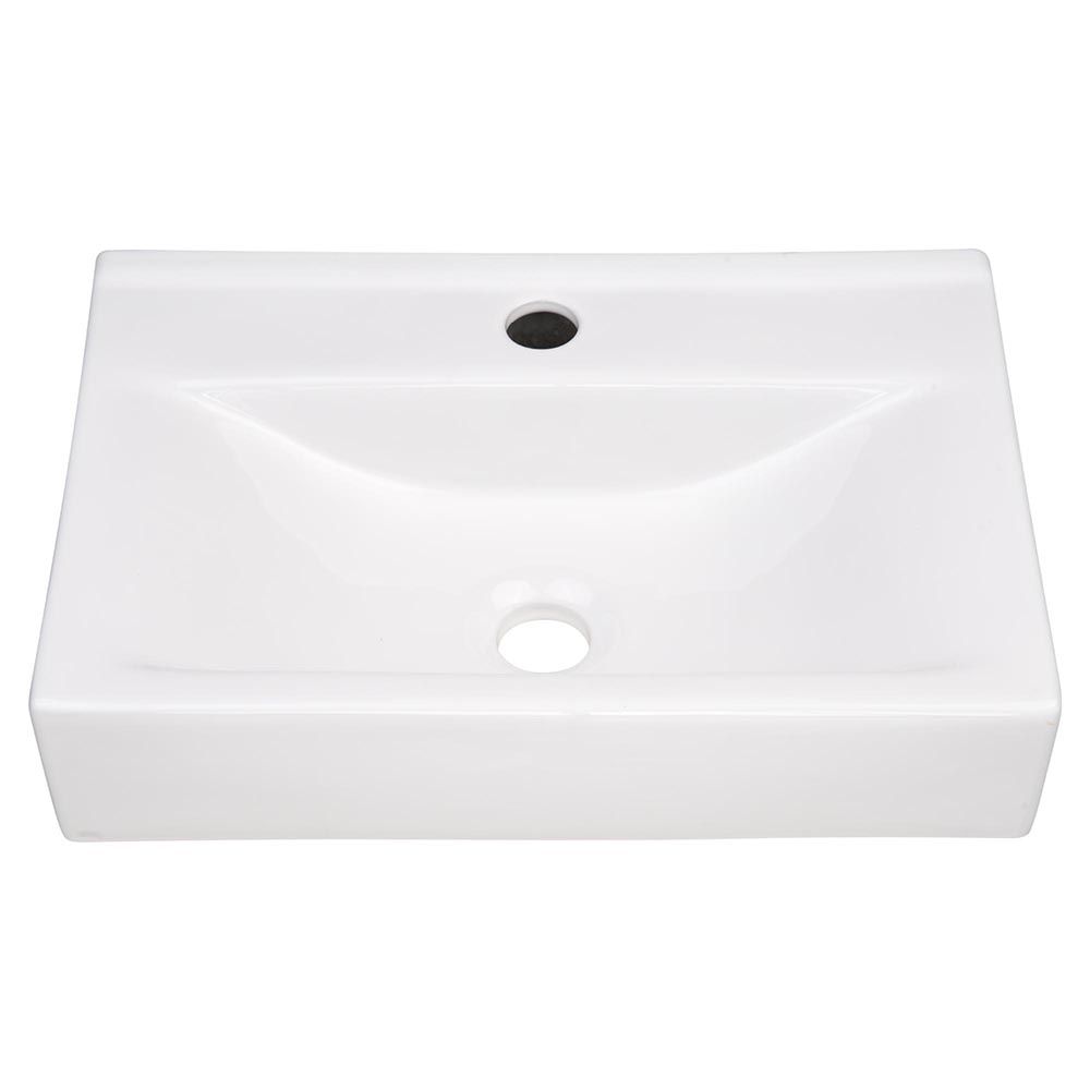 Aquarior 18 Wall Mount Sink Ceramic Sink Washing Basin For Bathroom With Drain Walmart Com Walmart Com