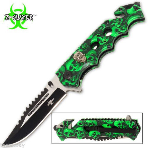 Green Skulls Zombie Slayer GRIP HANDLE ASSISTED OPENING RESCUE POCKET KNIFE
