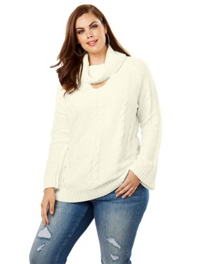 4b8a84b680c3a Product Image Roaman s Plus Size Cowlneck Sweater With Bell Sleeves