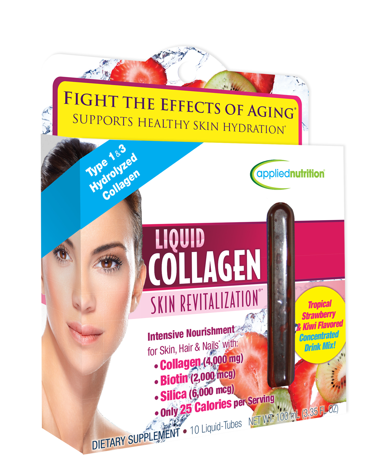 Applied Nutrition Liquid Collagen Skin Revitalization Liquid Drink Mix - Tropical Strawberry & Kiwi - 10ct