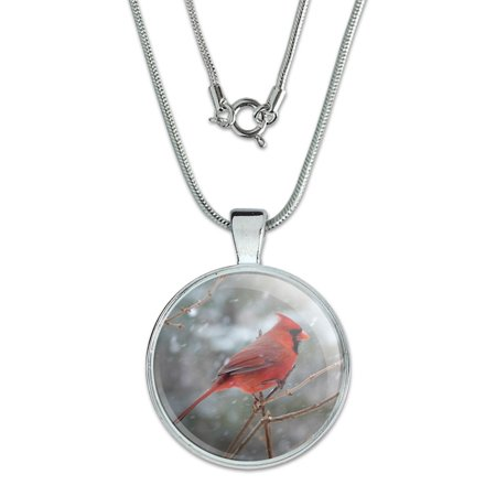 Red Cardinal Bird in Snow Large (Carved Bird Pendant)
