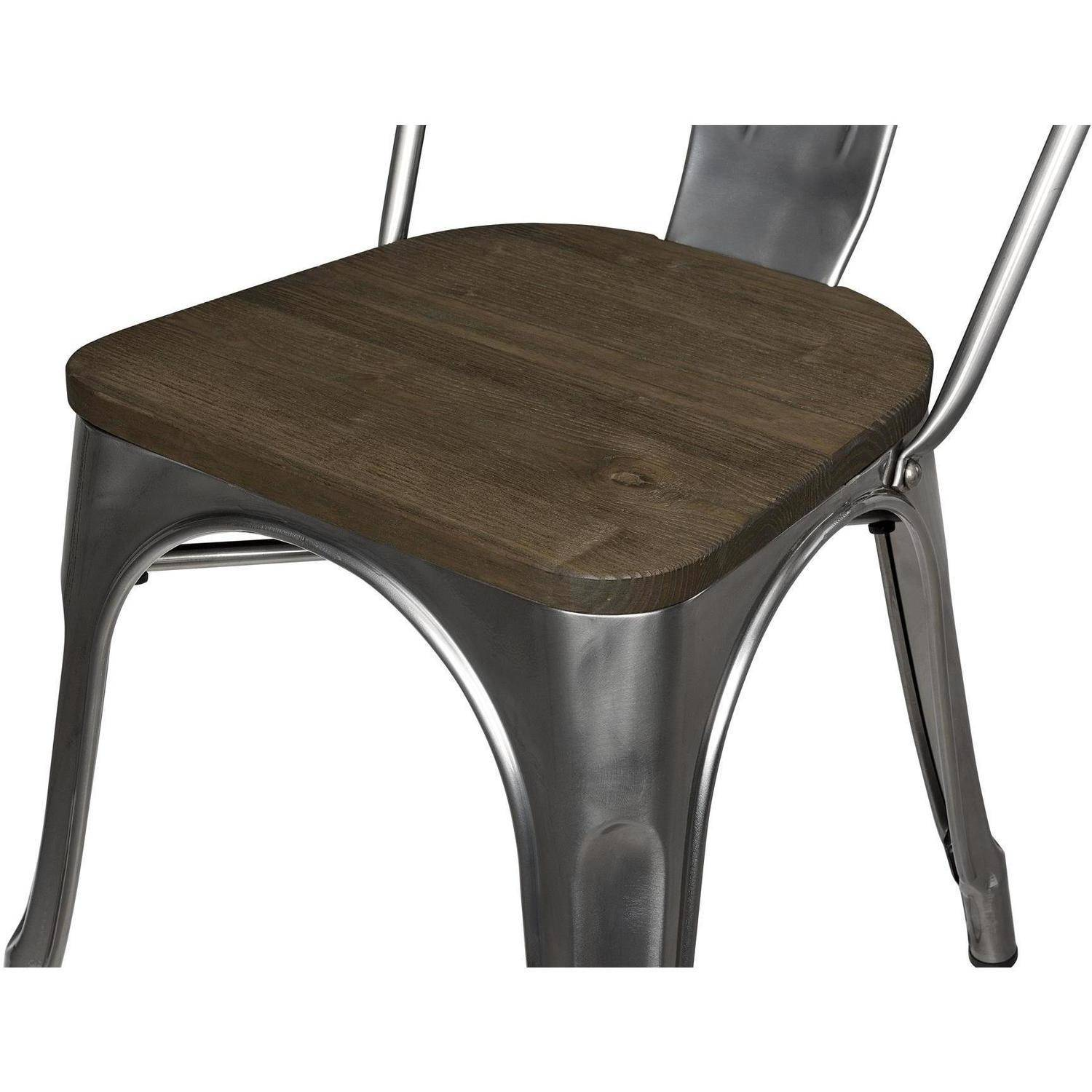 Dorel Home Products Fusion Metal Dining Chair with Wood Seat Set