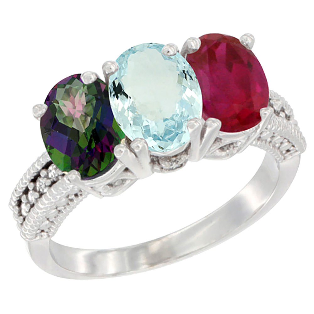 10K White Gold Natural Mystic Topaz, Aquamarine & Enhanced Ruby Ring 3-Stone Oval 7x5 mm Diamond Accent, sizes 5 10 by WorldJewels