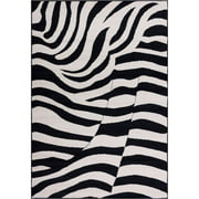 Well Woven Miami Zebra Animal Print Area Rug Black