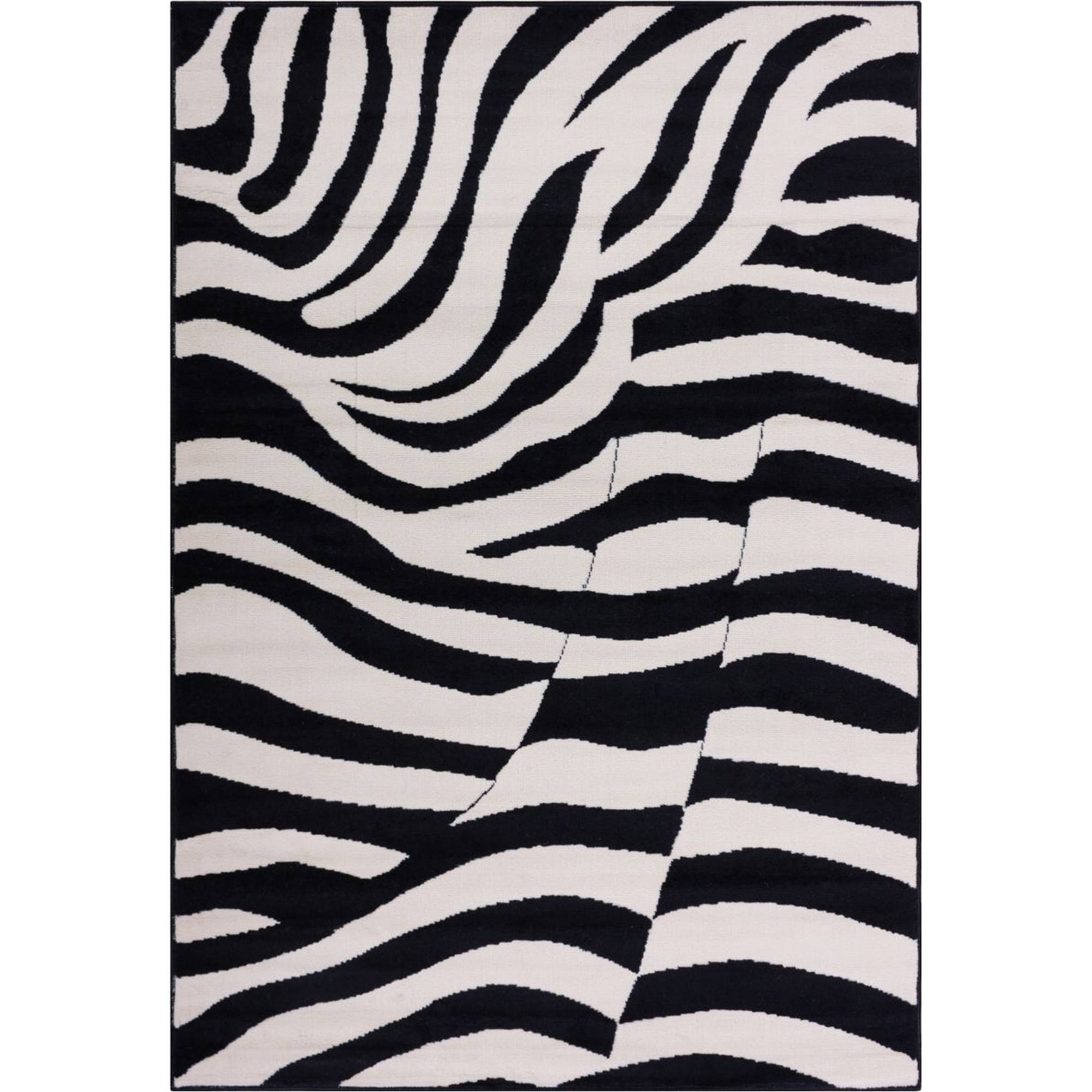Well Woven Miami Zebra Animal Print Area Rug, Black
