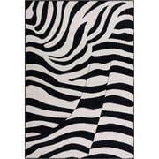 Well Woven Miami Zebra Animal Print Area Rug Black