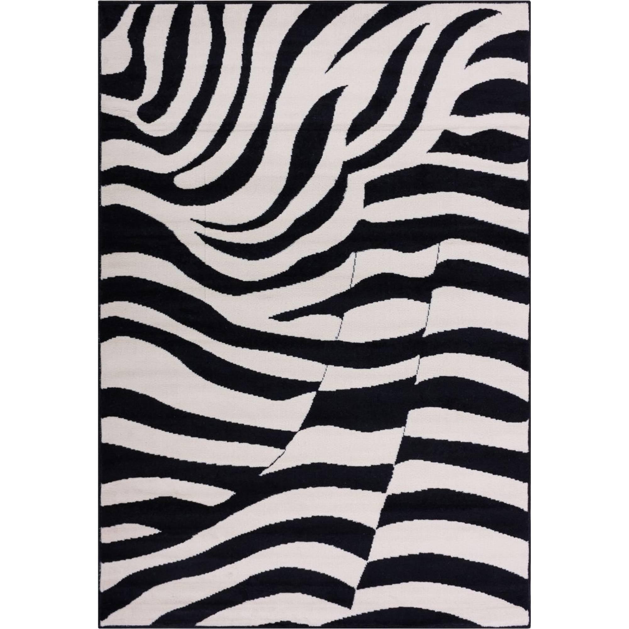 Well Woven Miami Zebra Animal Print Area Rug, Black