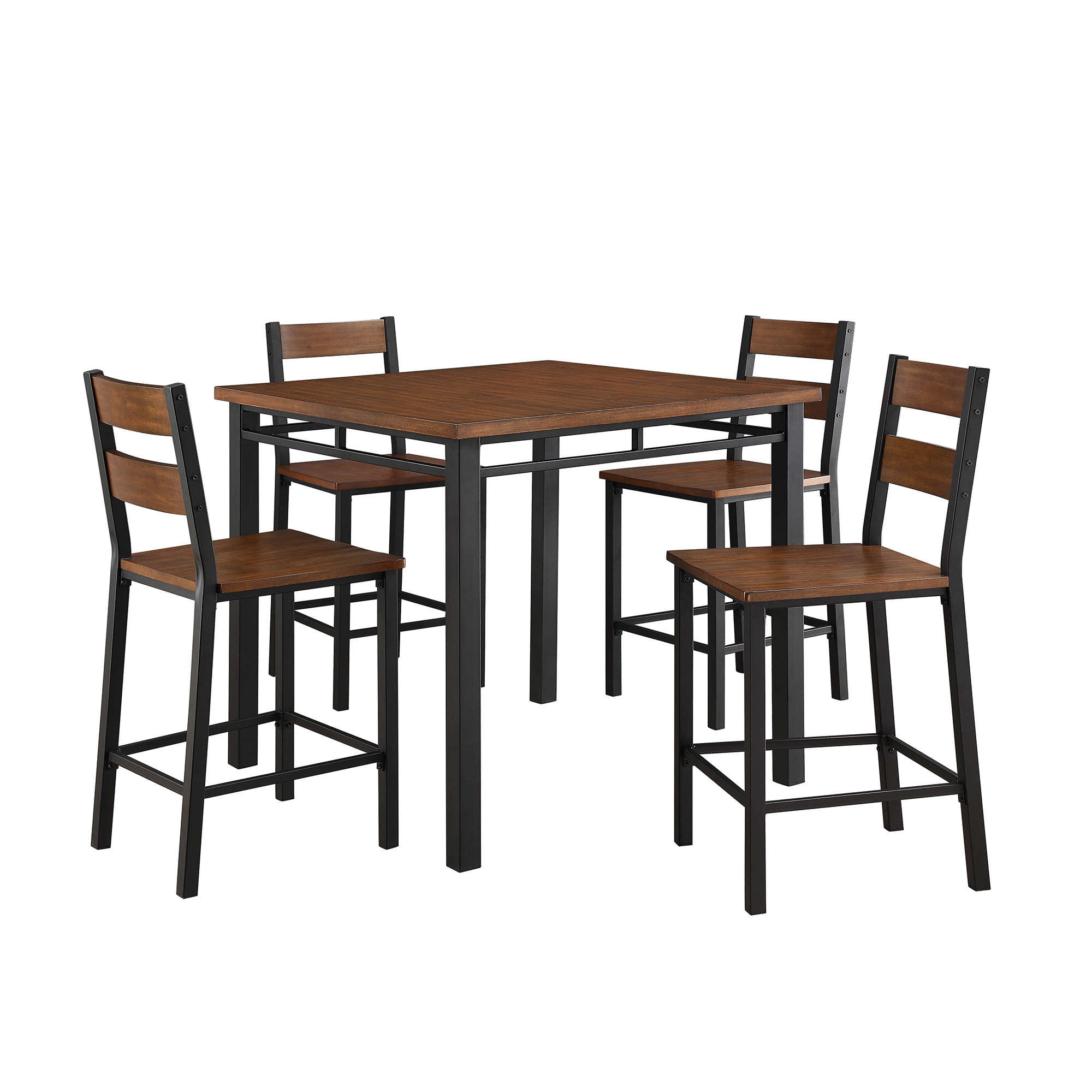 Better Homes & Gardens Mercer 5-Piece Counter Height Dining Room Set, Includes Table and 4 Chairs, Vintage Oak Finish by .
