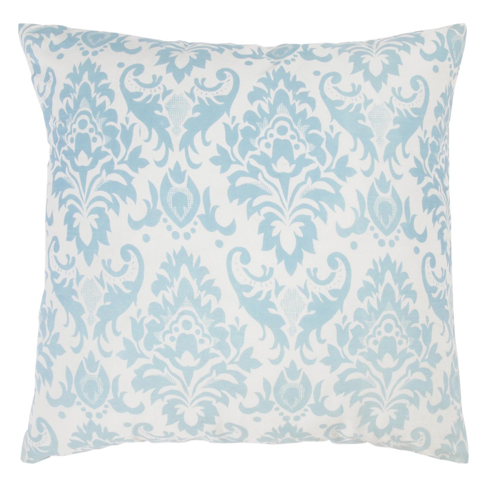"""Rizzy Home Decorative Poly Filled Throw Pillow Damask 18""""X18"""" Light Blue"""
