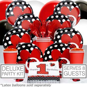 Ladybug 1st Birthday Deluxe Kit  (Serves 8) - Party Supplies (Ladybug Themed 1st Birthday Party)