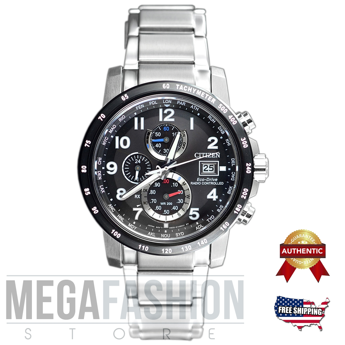 New Citizen Men´s Eco Drive Radio Controlled Chonograph Sport Watch AT8124-83E