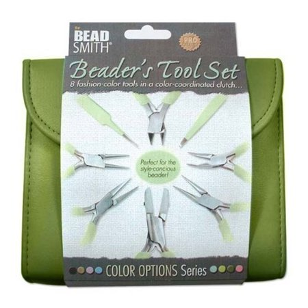 Beadsmith 8 Fashion- Olive Color Tool Set for Making Jewelry +Clutch Carry Case (Tools For Jewelry Making)