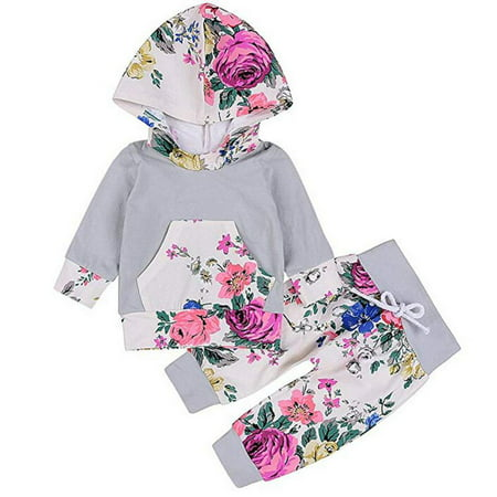Newborn Baby Girls 2 Piece Outfit Floral Hoodie Leggings Pant Set with Kangaroo Pocket - Newborn Two Piece Outfit
