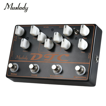 Muslady DTC 4-in-1 Electric Guitar Effects Pedal Distortion + Overdrive + Loop +