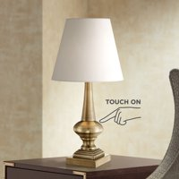 """360 Lighting Traditional Desk Table Lamp 19"""" High Antique Brass Metal White Empire Shade Touch On Off for Bedroom Bedside Office"""