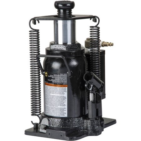 Omega 18206C Black Hydraulic Bottle Jack with Return Springs, 20 Ton Capacity
