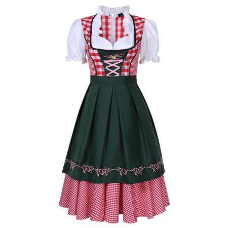 Women's German Dirndl Dress 3 Pieces Oktoberfest Costumes
