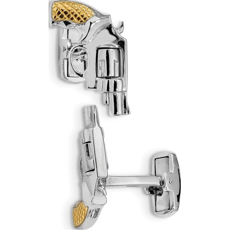 925 Sterling Silver Rhodium & -plated Revolver Moveable Barrel Cuff Links thumbnail