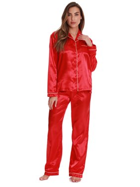 Just Love Satin Pajama Pants Set with Notch Collar