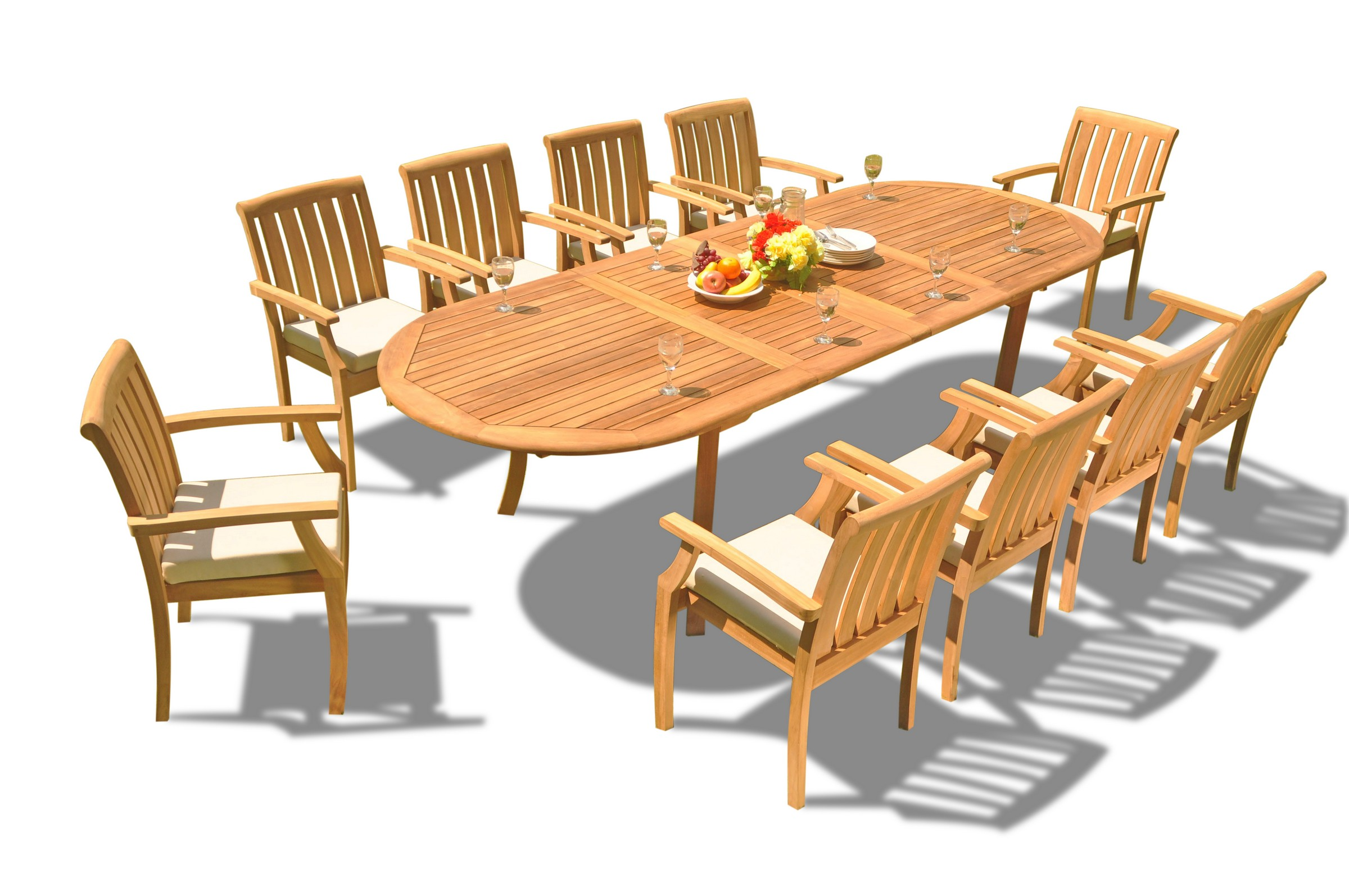 Admirable Teak Dining Set 10 Seater 11 Pc 117 Double Extensions Oval Dining Table 10 Somerset Stacking Arm Captain Chairs Outdoor Patio Grade A Teak Wood Home Interior And Landscaping Palasignezvosmurscom