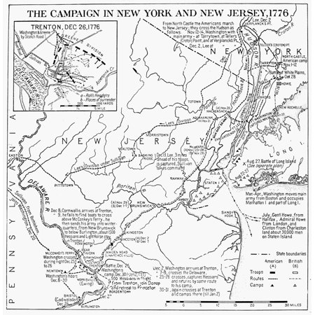 Map Of New York During American Revolution.Revolutionary War Map 1776 Nplan Of The Campaign In New York And New Jersey During The American Revolutionary War 1776 Rolled Canvas Art 24 X 36