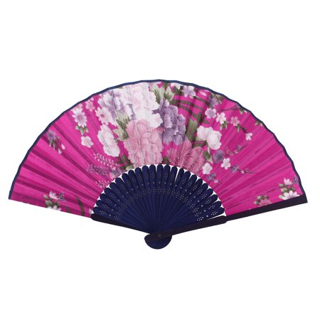 - Home Bamboo Hollow Out Handle Purple Pink Flower Print Foldable Hand Fan