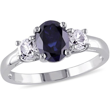 2-5/8 Carat T.G.W. Oval and Round-Cut Created Blue and White Sapphire Sterling Silver Three Stone Engagement Ring (Fake Oval Engagement Rings)
