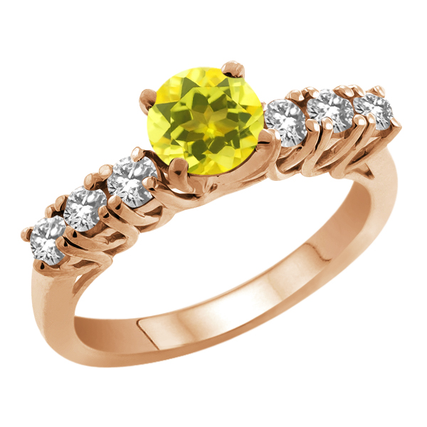 1.48 Ct Round Canary Mystic Topaz White Topaz 925 Rose Gold Plated Silver Ring
