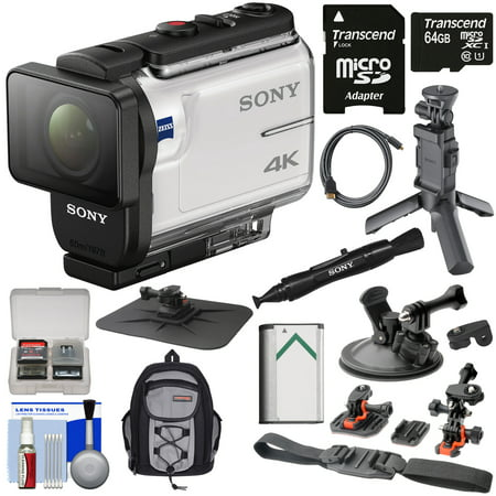 Sony Action Cam FDR-X3000 Wi-Fi GPS 4K HD Video Camera Camcorder with Shooting Grip Tripod + Action Mounts + 64GB Card + Battery + Backpack +