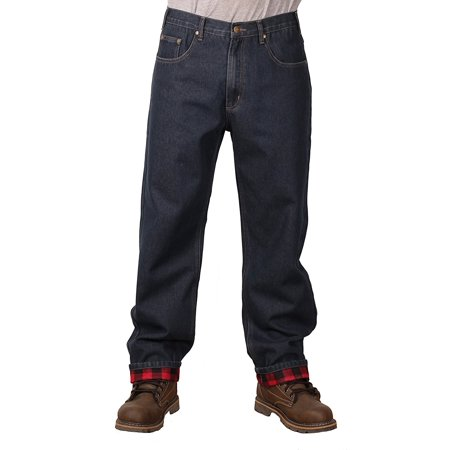 Outback Rider Men's Flannel Lined Relaxed Fit Jeans (Dark Wash, 33X34) Wash Relaxed Fit Jeans