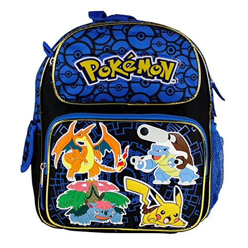 "Small Backpack - Pokemon - Pikachu Black & Blue 12"" School Bag New 847118"