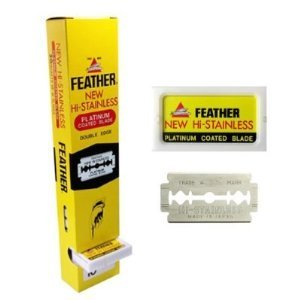 - 100 Ct FEATHER HI-STAINLESS DOUBLE EDGE DE RAZOR BLADES NEW HAIR REMOVE MADE IN JAPAN