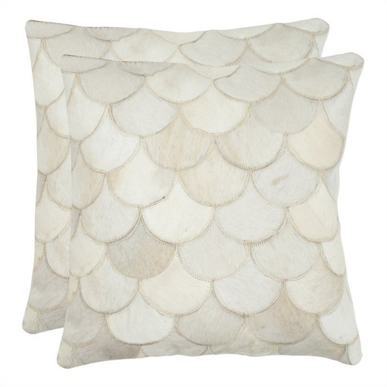 Safavieh Elita 18-inch Decorative Pillows in Cream (Set of 2) - image 1 de 1