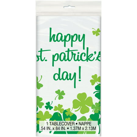 Rainbow Shamrock St. Patrick's Day Plastic Tablecloth, 84 x 54 in, 1ct