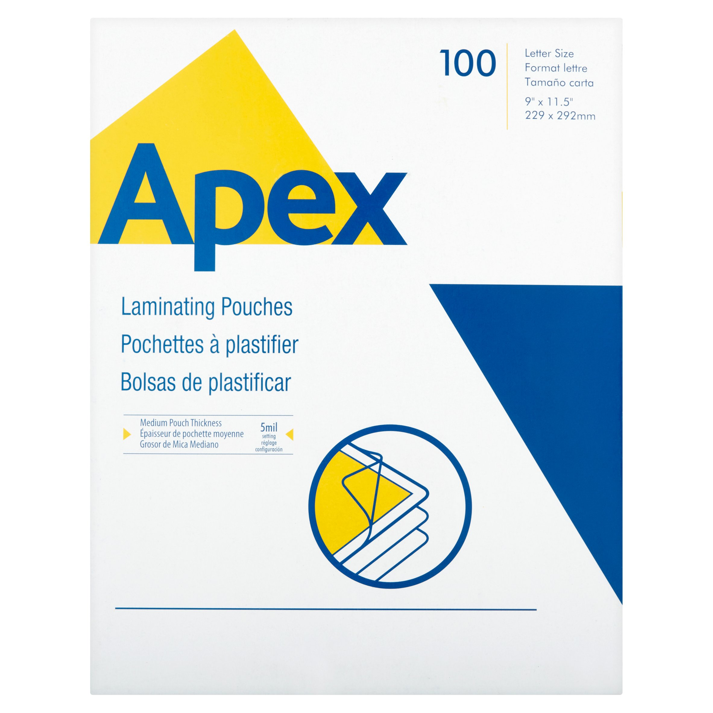 Apex Medium Pouch Thickness 100 Laminating Pouches