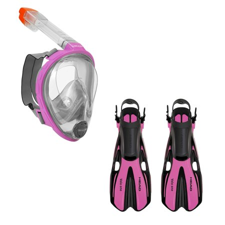 Head Sea VU Dry Full Face Anti Fog Adult XS/S Snorkel Swim Scuba Mask & S/M Fins