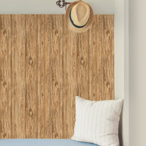 RoomMates Brown Mushroom Wood Peel & Stick Wallpaper