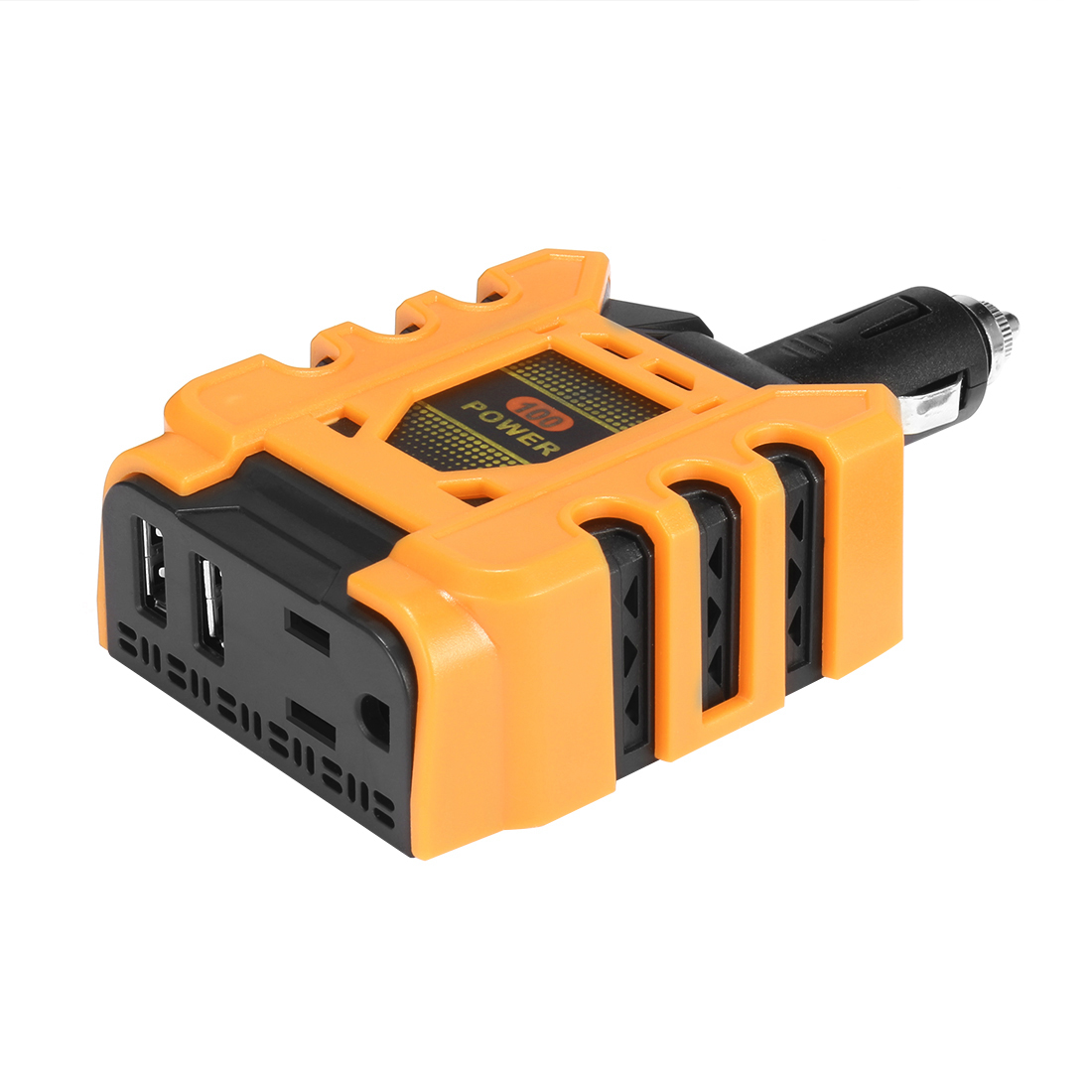 100W Power DC 12V to 110V AC Car Inverter w 2.4A Dual USB Car Adapter Yellow