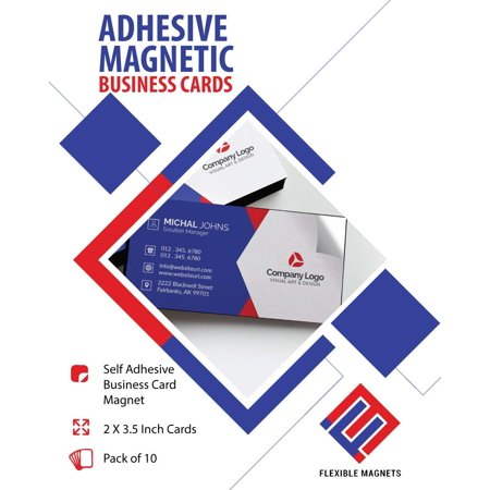 Self Adhesive Business Card Magnets Flexible Peel Stick 2 X